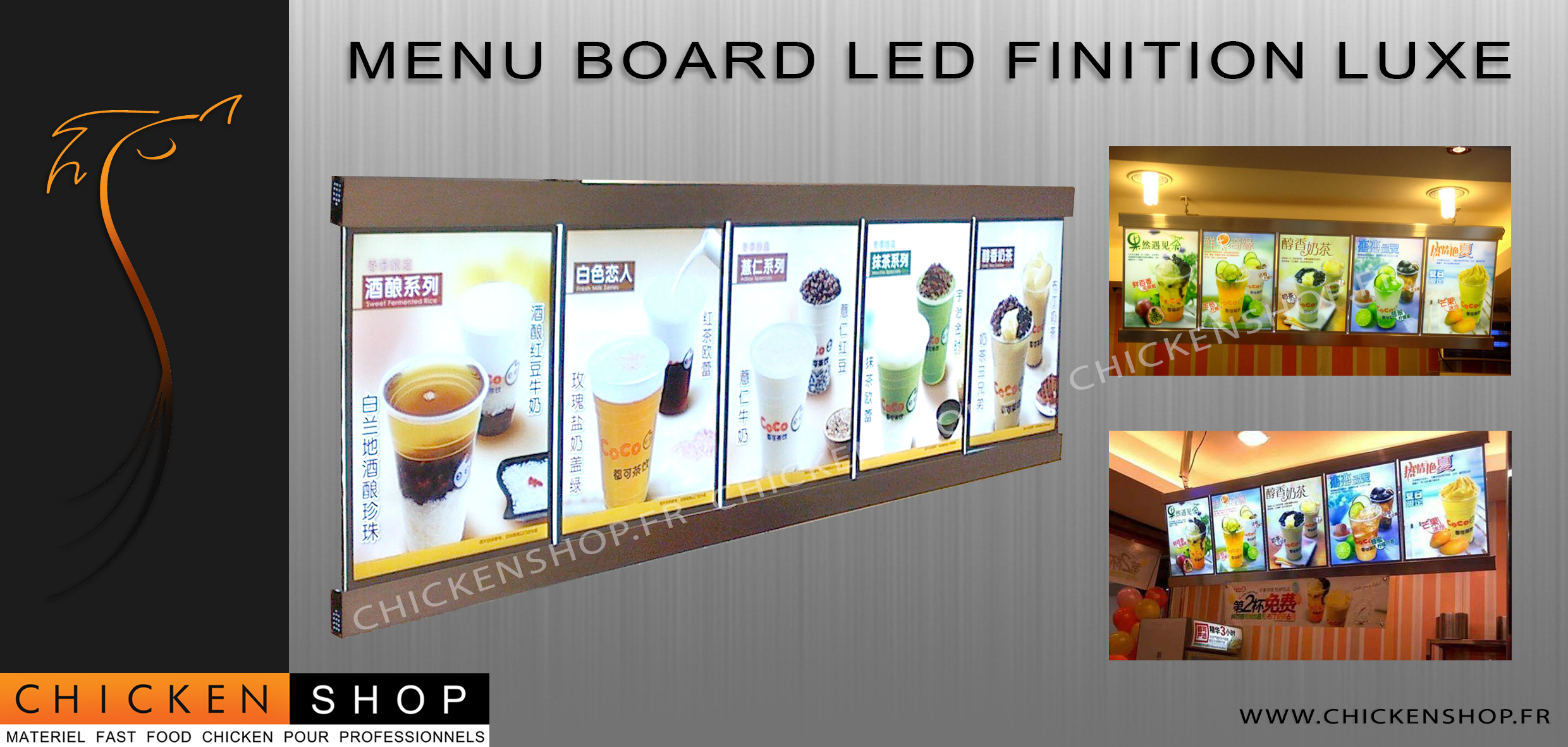 Menu Board LED Finition Luxe